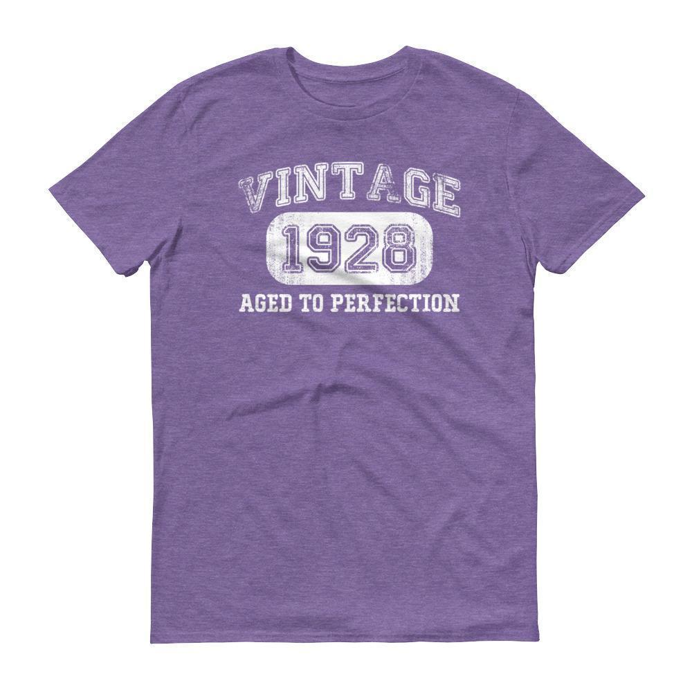 Men's 1928 Tshirt 90th birthday ideas for grandpa Heather Purple / 3XL T-Shirt BelDisegno