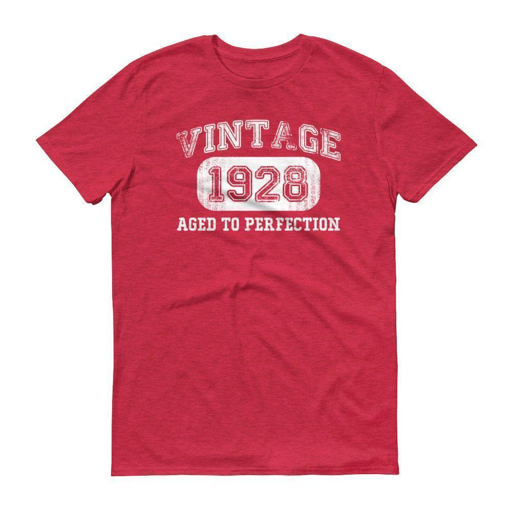 Men's 1928 Tshirt 90th birthday ideas for grandpa Heather Red / 3XL T-Shirt BelDisegno