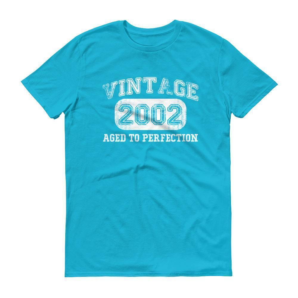 Born in 2002 Tshirt 2002 birthday gift Color: Caribbean BlueSize: S