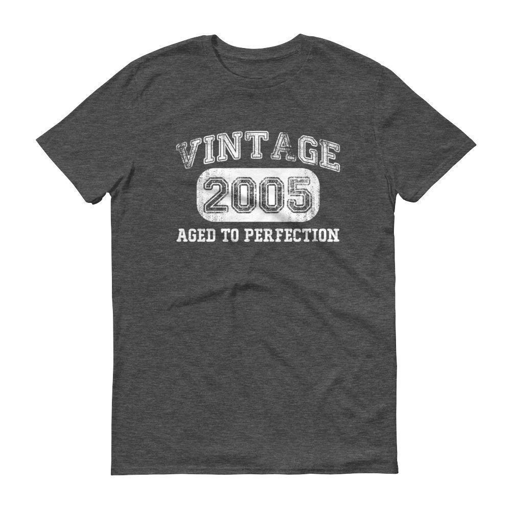 Born in 2005 Tshirt 2005 birthday gift Color: Heather Dark GreySize: S