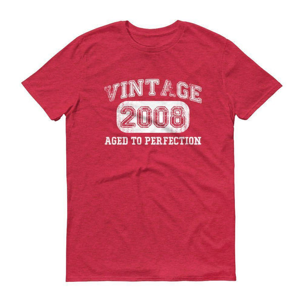 Men's Vintage 2008 Tshirt 2008 birthday gift-T-Shirt-BelDisegno-Heather Red-S-BelDisegno