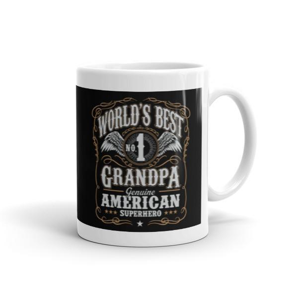 Men's World's Best No 1 Grandpa American Superhero Coffee Mug-Mug-BelDisegno-11oz-BelDisegno