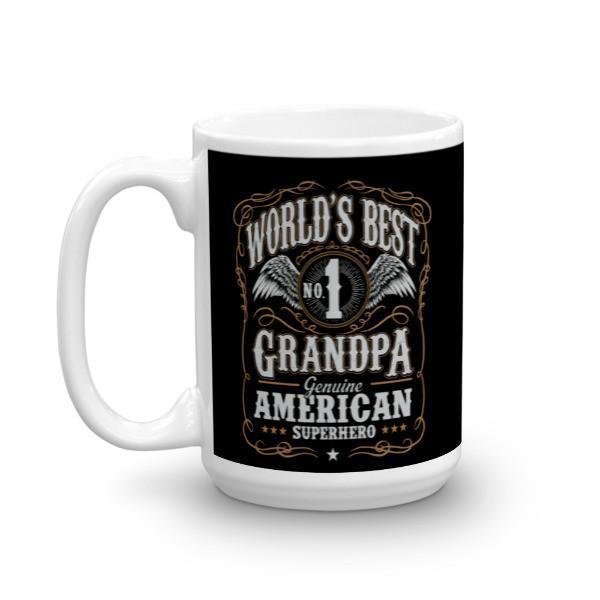 Men's World's Best No 1 Grandpa American Superhero Coffee Mug-Mug-BelDisegno-BelDisegno
