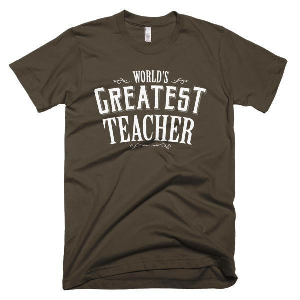 Men's World's Greatest Teacher gift TShirt-T-Shirt-BelDisegno-Brown-S-Men-BelDisegno