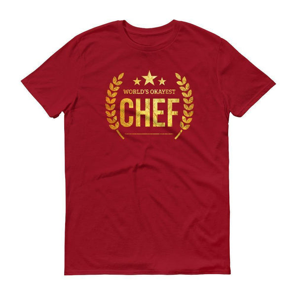 Men's World's Okayest Chef tshirt gifts for professional chefs-T-Shirt-BelDisegno-Independence Red-S-BelDisegno