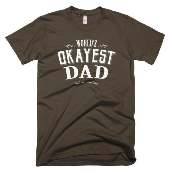 Men's World's Okayest Dad Father's day gift TShirt-T-Shirt-BelDisegno-Brown-S-Men-BelDisegno