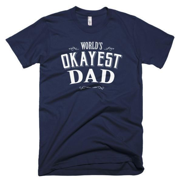 Men's World's Okayest Dad Father's day gift TShirt-T-Shirt-BelDisegno-Navy-S-Men-BelDisegno