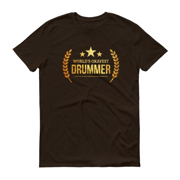 Men's World's Okayest Drummer tshirt personalized gifts for drummers-T-Shirt-BelDisegno-Chocolate-S-BelDisegno