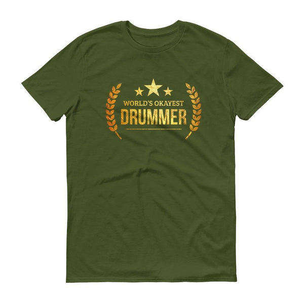 Men's World's Okayest Drummer tshirt personalized gifts for drummers-T-Shirt-BelDisegno-City Green-S-BelDisegno