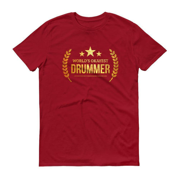 Men's World's Okayest Drummer tshirt personalized gifts for drummers-T-Shirt-BelDisegno-Independence Red-S-BelDisegno