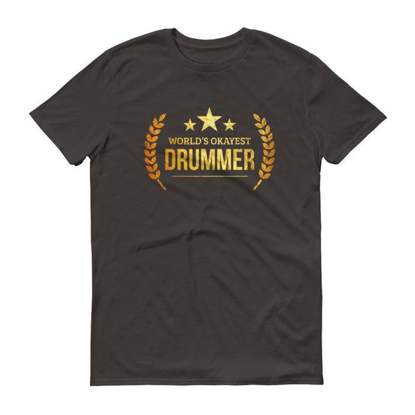 Men's World's Okayest Drummer tshirt personalized gifts for drummers-T-Shirt-BelDisegno-Smoke-S-BelDisegno