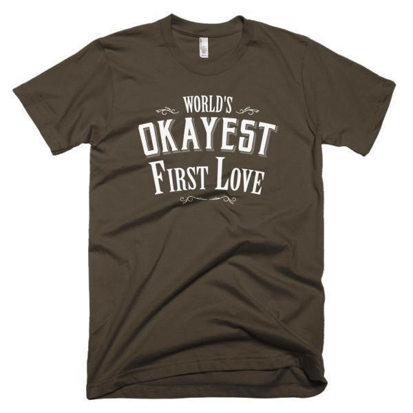 Men's World's Okayest First Love Valentine Day gift TShirt-T-Shirt-BelDisegno-Brown-S-Men-BelDisegno