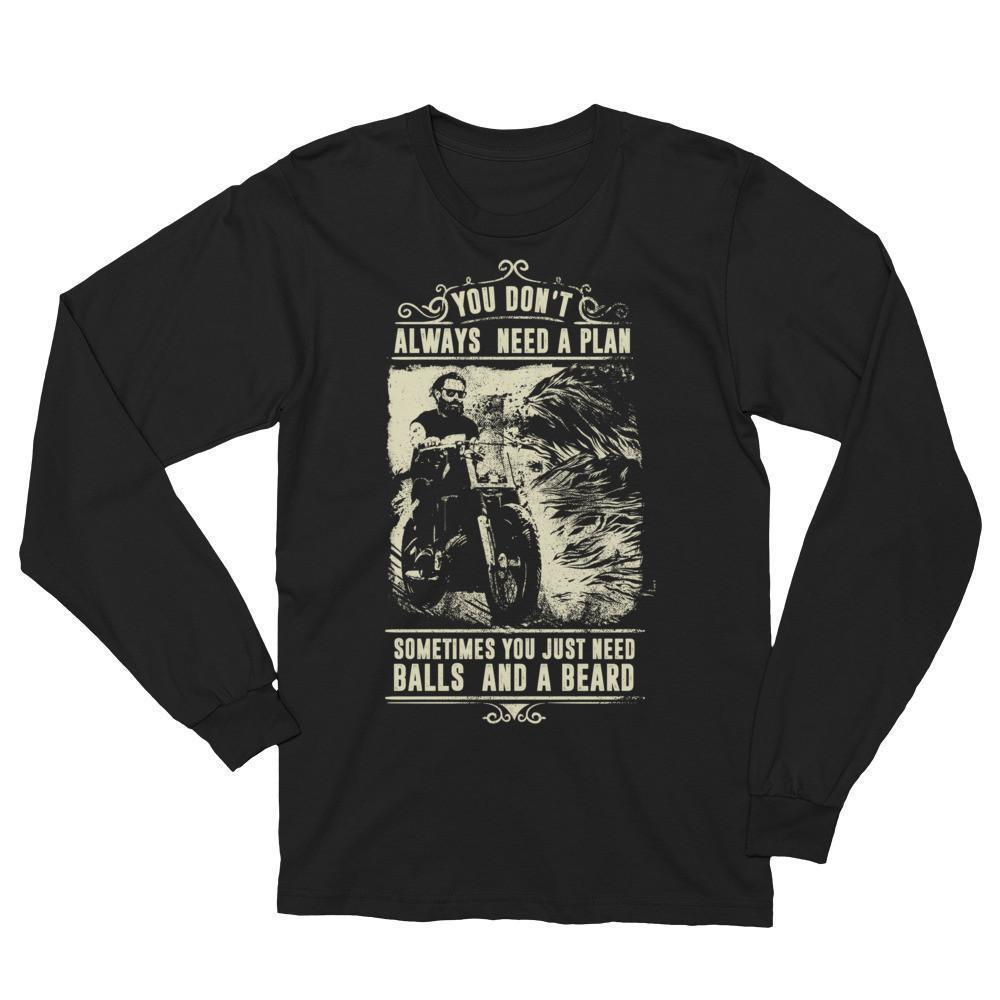 Men's You Don't Always Need A Plan Just Balls And A Beard T (unisex) TShirt-T-Shirt-BelDisegno-Black-S-BelDisegno