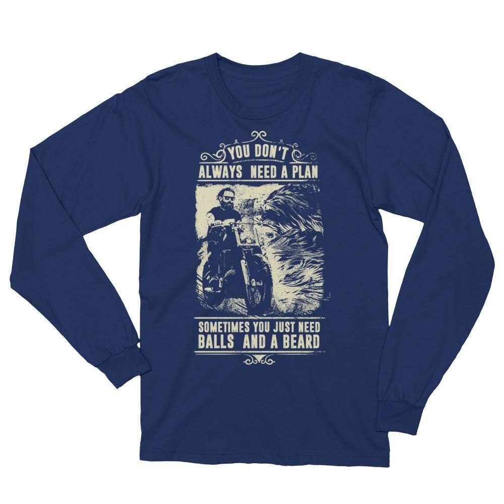 Men's You Don't Always Need A Plan Just Balls And A Beard T (unisex) TShirt-T-Shirt-BelDisegno-Navy-S-BelDisegno