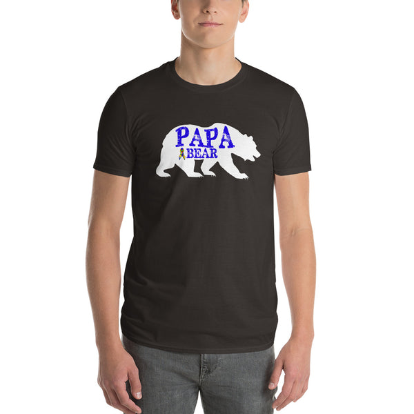 Autism Dad Gift | Autism Papa Bear Short-Sleeve T-Shirt | Gift for father of autistic child | Autism Awareness Smoke / 3X T-Shirt BelDisegno