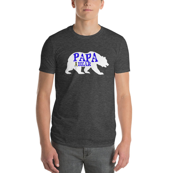 Autism Dad Gift | Autism Papa Bear Short-Sleeve T-Shirt | Gift for father of autistic child | Autism Awareness Heather Dark Grey / 3X T-Shirt BelDisegno