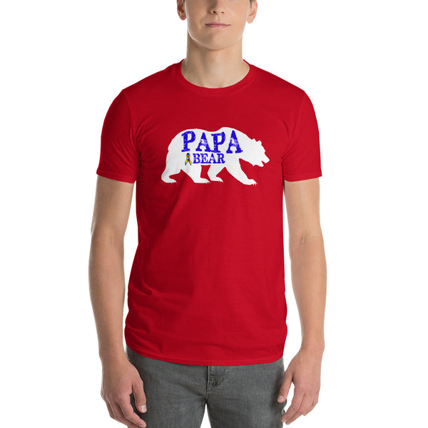 Autism Dad Gift | Autism Papa Bear Short-Sleeve T-Shirt | Gift for father of autistic child | Autism Awareness Red / 3X T-Shirt BelDisegno