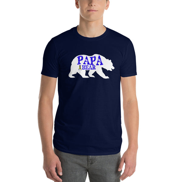 Autism Dad Gift | Autism Papa Bear Short-Sleeve T-Shirt | Gift for father of autistic child | Autism Awareness Navy / 3X T-Shirt BelDisegno
