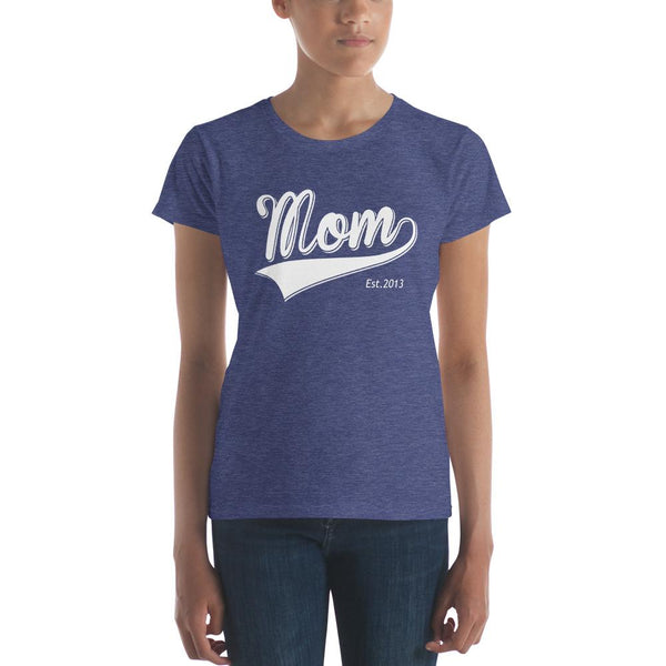 Mom Est 2013 Mother Day Gift for New mom Established TShirt-T-Shirt-BelDisegno-Heather Blue-S-BelDisegno