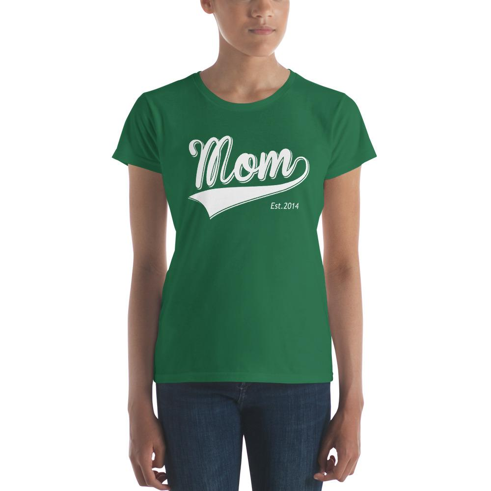 Mom Est 2014 Mother Day Gift for New mom Established TShirt-T-Shirt-BelDisegno-Kelly Green-S-BelDisegno