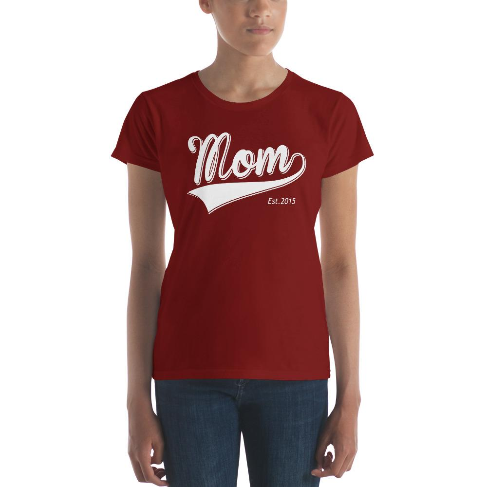 Mom Est 2015 Mother Day Gift for New mom Established TShirt-T-Shirt-BelDisegno-Independence Red-S-BelDisegno