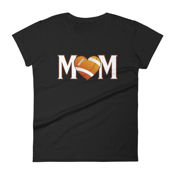 Mom Heart Love American Football Women TShirt-T-Shirt-BelDisegno-Black-S-BelDisegno