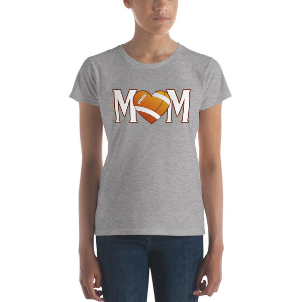 Mom Heart Love American Football Women TShirt-T-Shirt-BelDisegno-Heather Grey-S-BelDisegno