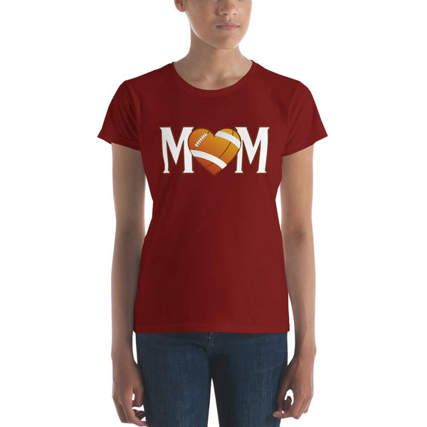 Mom Heart Love American Football Women TShirt-T-Shirt-BelDisegno-Independence Red-S-BelDisegno