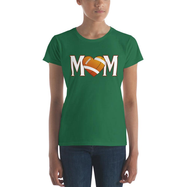 Mom Heart Love American Football Women TShirt-T-Shirt-BelDisegno-Kelly Green-S-BelDisegno