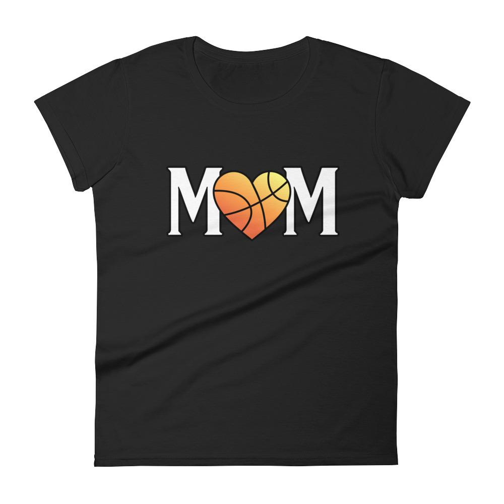 Mom Heart Love Basketball Women TShirt-T-Shirt-BelDisegno-Black-S-BelDisegno