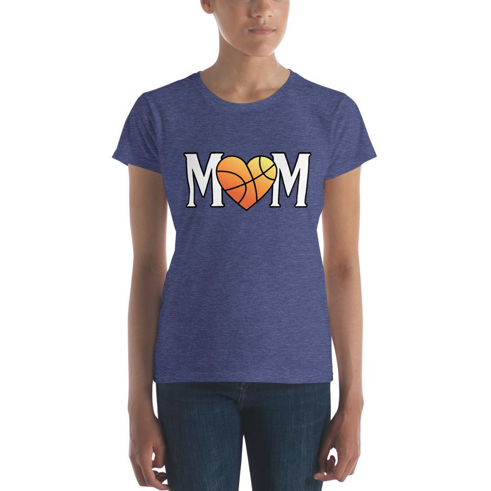 Mom Heart Love Basketball Women TShirt-T-Shirt-BelDisegno-Heather Blue-S-BelDisegno