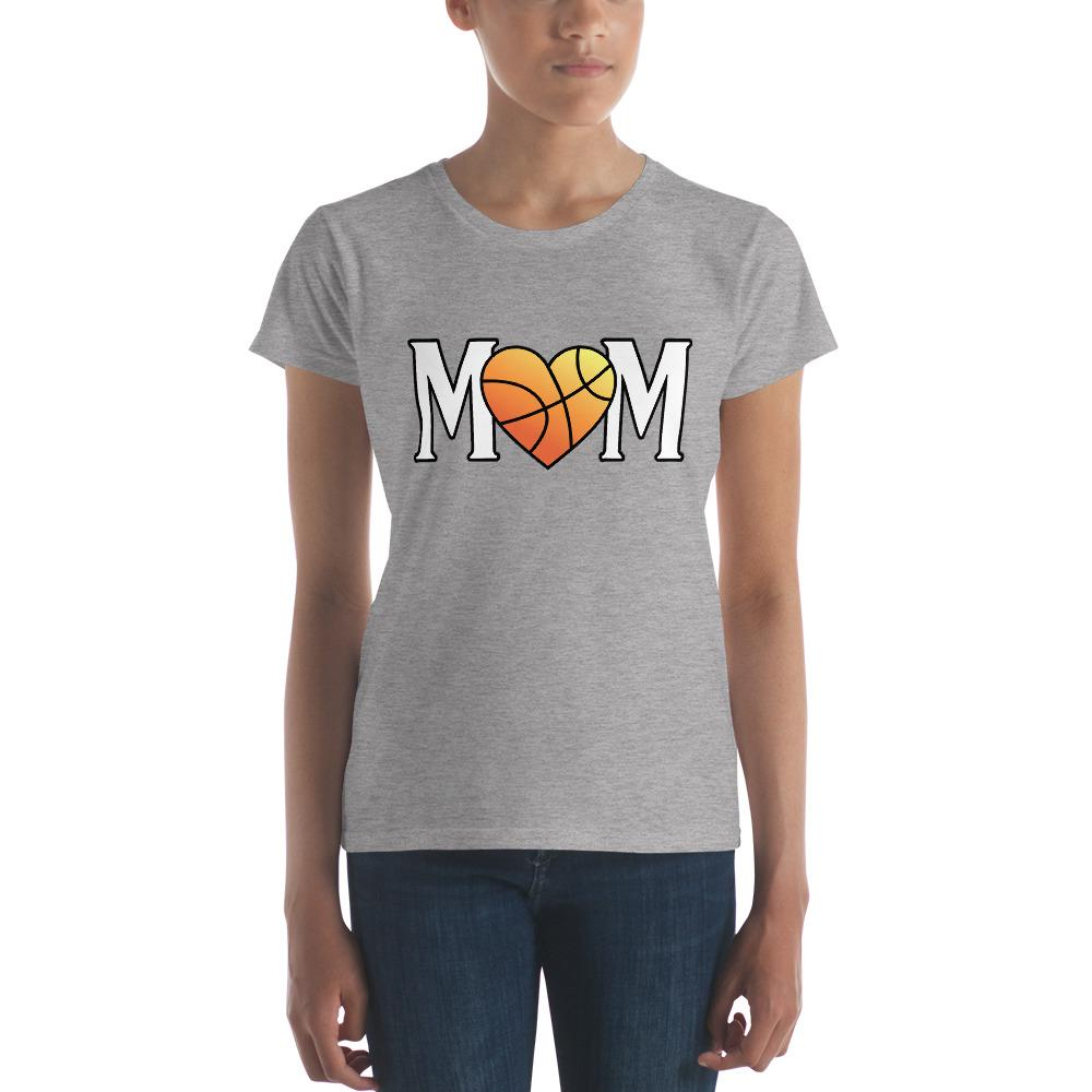 Mom Heart Love Basketball Women TShirt-T-Shirt-BelDisegno-Heather Grey-S-BelDisegno