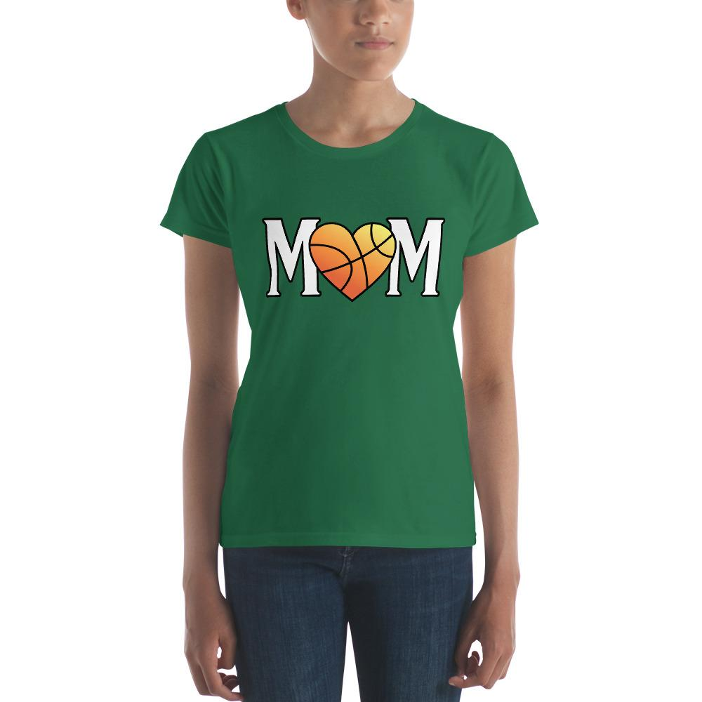 Mom Heart Love Basketball Women TShirt-T-Shirt-BelDisegno-Kelly Green-S-BelDisegno