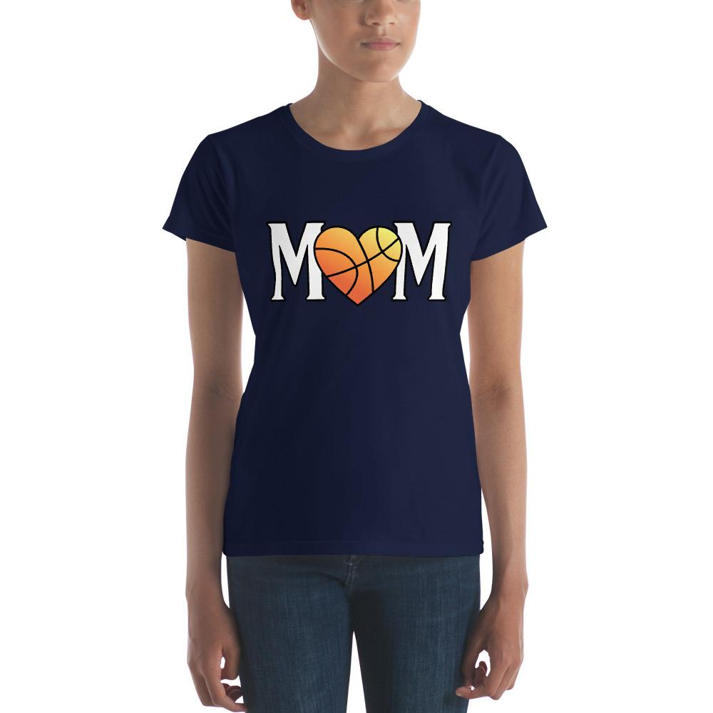 Mom Heart Love Basketball Women TShirt-T-Shirt-BelDisegno-Navy-S-BelDisegno