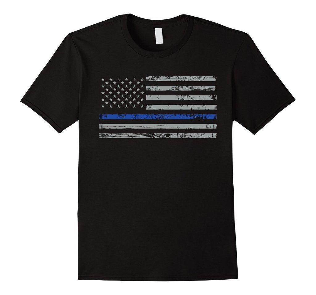 Navy Lives Matter Thin Blue Lives Line Flag T-shirt Black / 3XL T-Shirt BelDisegno