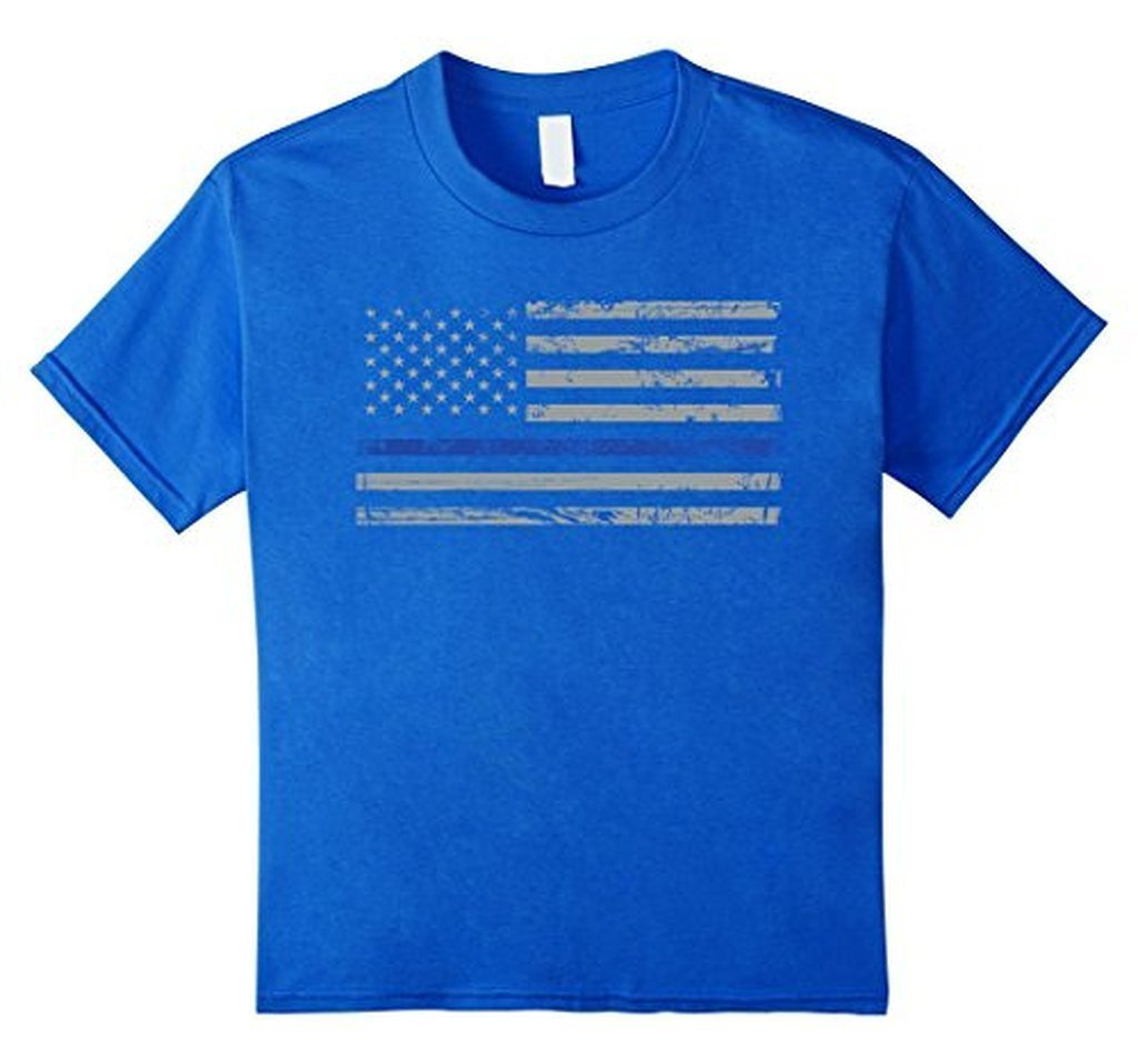 Navy Lives Matter Thin Blue Lives Line Flag T-shirt Royal Blue / 3XL T-Shirt BelDisegno