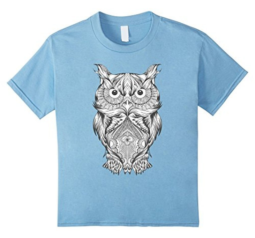 Owl Coloring for Adults Kids T-shirt Baby Blue / 3XL T-Shirt BelDisegno