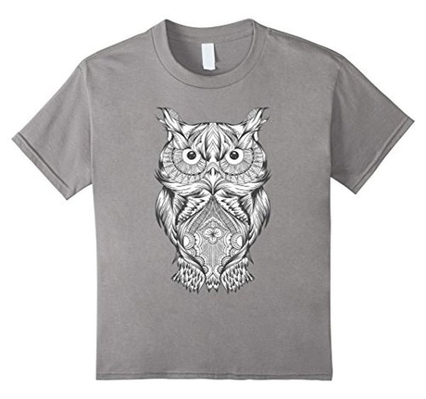 Owl Coloring for Adults Kids T-shirt Heather Grey / 3XL T-Shirt BelDisegno