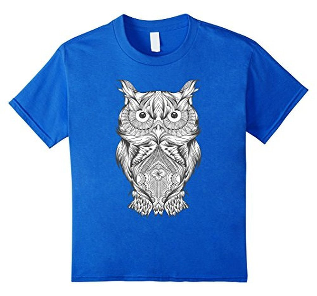 Owl Coloring for Adults Kids T-shirt Royal Blue / 3XL T-Shirt BelDisegno