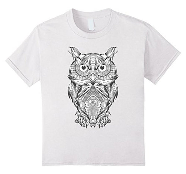 Owl Coloring for Adults Kids T-shirt White / 3XL T-Shirt BelDisegno