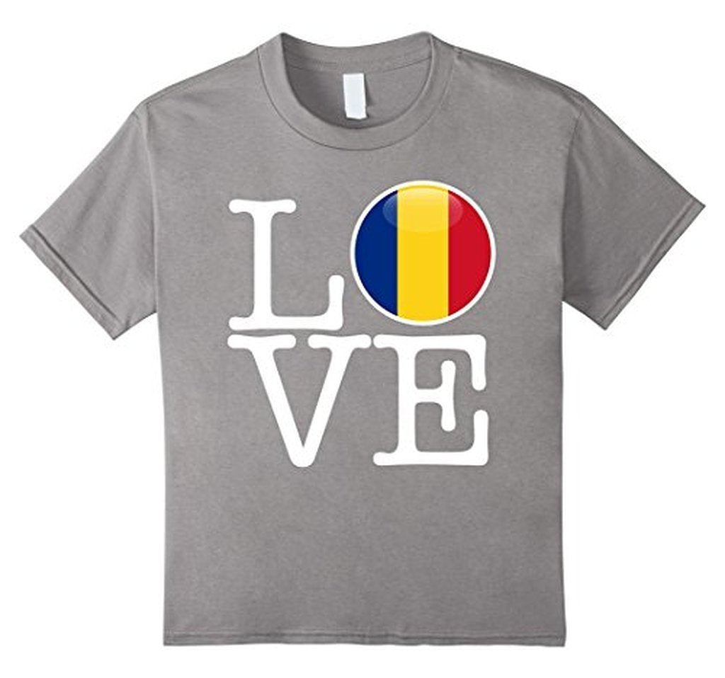 Romania Love Romania Flag fotbal tricou T-shirt Heather Grey / 3XL T-Shirt BelDisegno