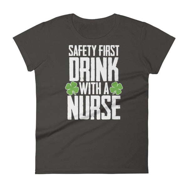 safety first drink with a nurse tshirt Women's St Patrick Day shamrock Shirt Smoke / 2XL T-Shirt BelDisegno