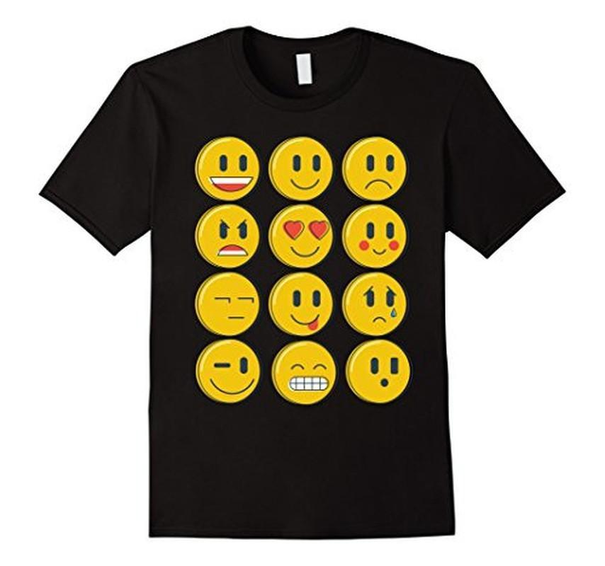 Smiley Emoticons Emoji T-shirt Black / XL / Women T-Shirt BelDisegno