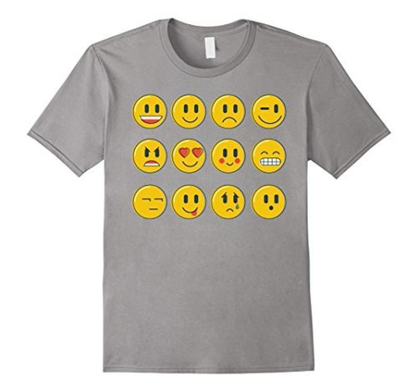 Smiley Emoticons Emoji T-shirt Heather Grey / 3XL T-Shirt BelDisegno