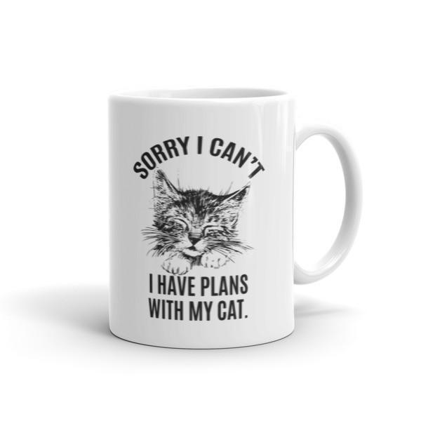 Sorry I Can't I Have Plans with My Cat Funny Coffee Mug 11oz Mug BelDisegno