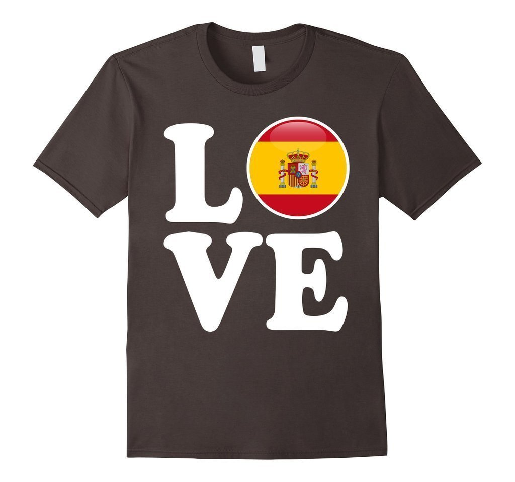 Spain Love Espana Flag Football Futbol Bandera T-shirt Asphalt / 3XL T-Shirt BelDisegno