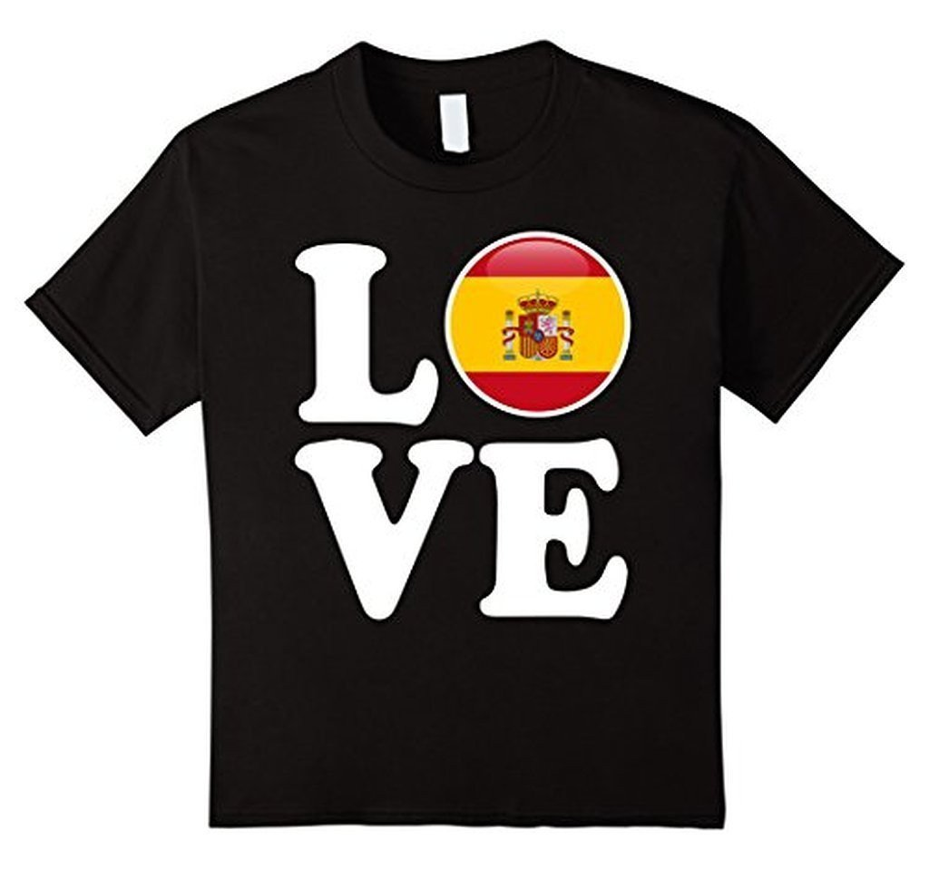 Spain Love Espana Flag Football Futbol Bandera T-shirt Black / 3XL T-Shirt BelDisegno
