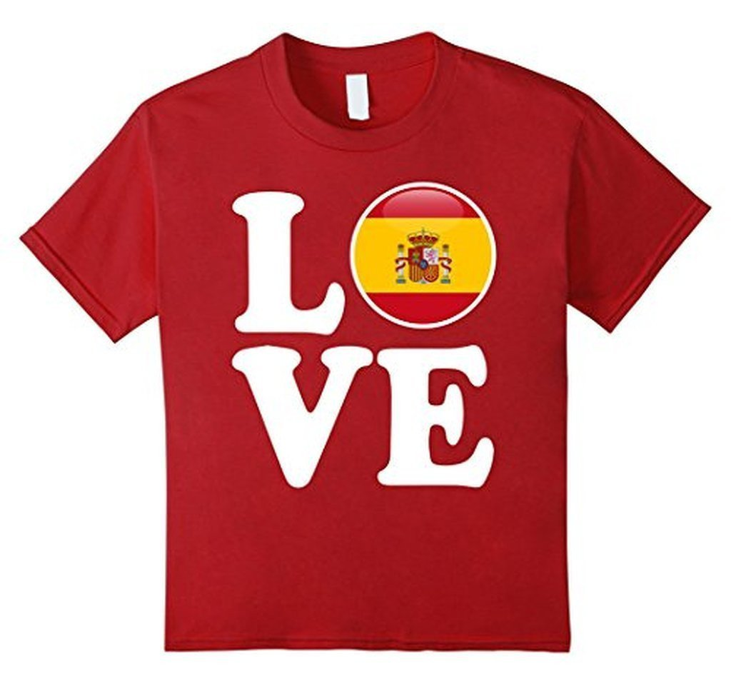 Spain Love Espana Flag Football Futbol Bandera T-shirt Cranberry / 3XL T-Shirt BelDisegno