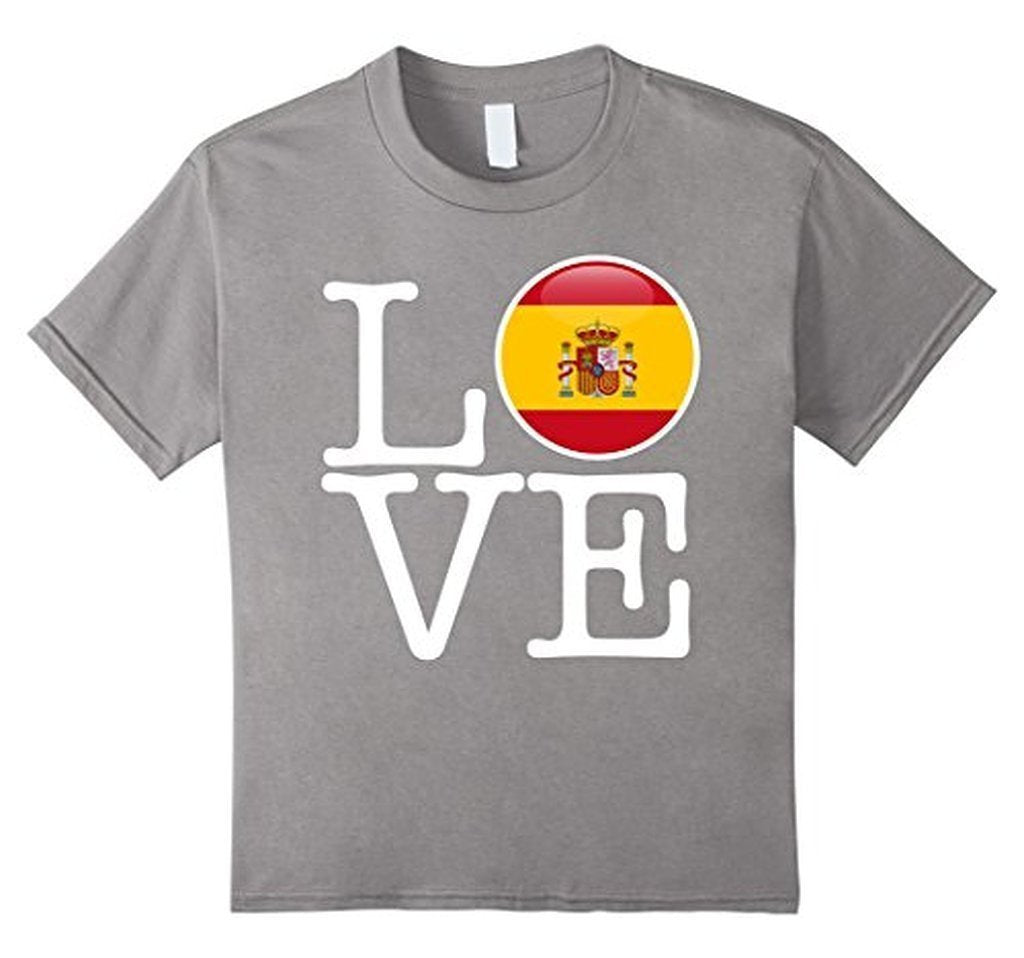 Spain Love Espana Flag Football Futbol Bandera T-shirt Heather Grey / 3XL T-Shirt BelDisegno