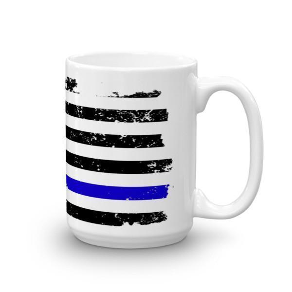 Thin Blue Line American Flag Blue Lives Matter Coffee Mug 15oz Mug BelDisegno